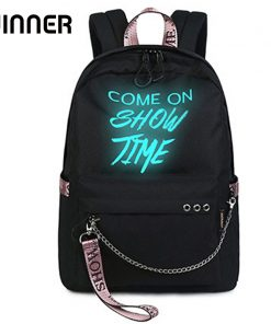 Fashion Luminous Waterproof Women Daily Backpacks College Student Bookbags Reflective Bagpack for Girls School Knapsack