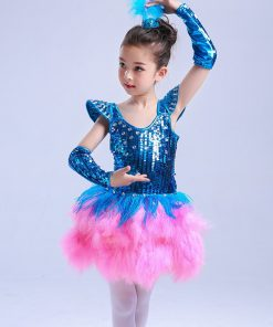 2018 New Ballet Dress For Kids Children Jazz Performance Dresses Tutu Sequins Modern Dancing Costumes Skating Dresses For Girls