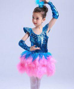 2018 New Ballet Dress For Kids Children Jazz Performance Dresses Tutu Sequins Modern Dancing Costumes Skating Dresses For Girls