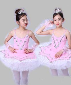 Children Swan Lake Ballet Costumes Child Pancake Ballet Performance Tutu Skirt Dance Clothes for girls