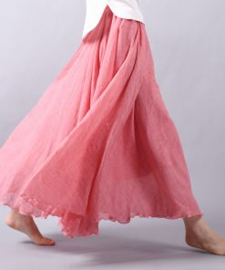 Sherhure 2018 Women Linen Cotton Long Skirts Elastic Waist Pleated Maxi Skirts Beach Boho Vintage Summer Skirts Faldas Saia 1