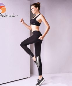 Andzhelika 2018 New Women Yoga Pants Fitness Sports Leggings Running Trousers Compression Breathable Top Tracksuit Tights S-XL