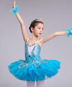 Professional Tutu Girls Little Swan Child Sequin Pancake Tutu Ballet Clothes Children