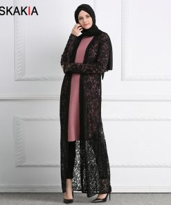 Siskakia Lace Cardigan Outerwear Women Sunscreen Cover UP ankle length Muslim Abaya kaftans and Jubah Black white 2018 Female