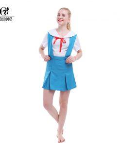 ROLECOS EVA Ayanami Rei Cosplay Neon Genesis Evangelion Cosplay Costume Girl School Uniform Suspender Women Dress Summer EVA Cos 1