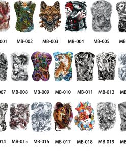 1 Sheet Big Large Full Back Chest Tattoo Sticker Wolf Tiger Dragon 20 Designs Body Art Temporary Waterproof for Women Men Tattoo 1