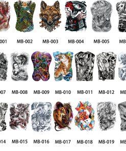 1 Sheet Big Large Full Back Chest Tattoo Sticker Wolf Tiger Dragon 20 Designs Body Art Temporary Waterproof for Women Men Tattoo 1