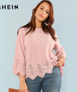 SHEIN Laser Cut Solid Top 2018 Summer Round Neck Three Quarter Length Flounce Sleeve Plus Size Blouse Women Elegant Pink Top
