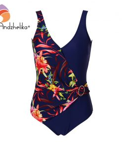 "Andzhelika Women New One Piece Swimsuit Sexy Deep ""V"" Swimwear Floral Patchwork Plus Size 2XL-6XL Bodysuit Bathing Suit Monokini"
