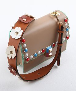 Strap you Flower women bag strap with leather  Female bag part Female handbag accessories Gifts bel Gold and silver 1