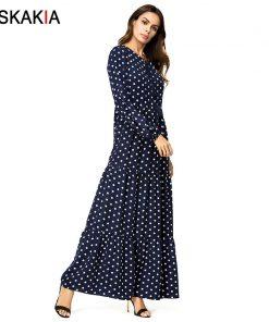 Siskakia polka dot print long dress solid ruffles swing patchwork maxi dresses bishop sleeve plus size women dress Autumn 2018 1