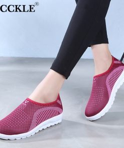 MCCKLE Vulcanized Shoes Autumn Mesh Flat With Loafers Plus Size Cotton Women Flats Casual Walking Stripe Sneakers For Female