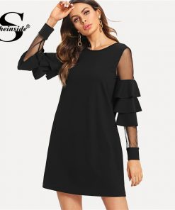 Sheinside Ruffle Sleeve Black A Line Work Dress Round Neck Contrast Mesh Tiered Layer Straight Women Fall Elegant Mini Dress