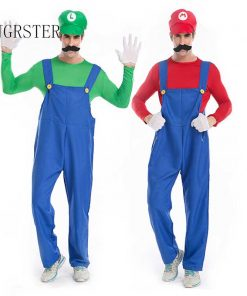 DJGRSTER Funy Cosplay Costume Super Mario Luigi Brothers Fancy  top+pant  Party Costume Cute Costume Adult halloween costumes