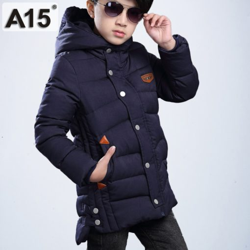 Kids Winter Jacket for Boys Clothes 2018 Teenage Boys Clothing Parkas Warm Jacket Hooded Coats Children Size 8 10 12 14 16 Years