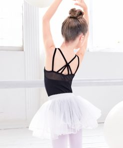 Kids Ballet Tutu Dress Black Pink Mesh Sleevess Dance Leotards & Tutu Skirt Camisole Ballet Dancewear For Girls