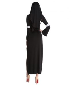 Nun Costume Halloween Female Fancy Sexy Black Church Sister Disguise Party Cosplay Dress Fantasy Stage Performance Clothing  1