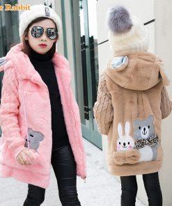 Lovely little bear Winter Girls clothing Faux Fur Fleece Coat Warm Jacket Xmas Snowsuit Outerwear Children kids Clothes parka 1