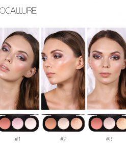 FOCALLURE New Arrivel 3 Colors Blush&Highlighter Palette Face Matte Highlighter Powder Illuminated Blush Powder 1