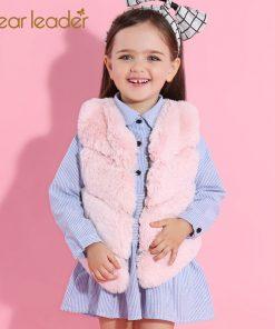 Bear Leader Girls Fur Outerwear 2018 New Autumn&Winter Fashion Thick Warm Faux Fur Environmentally Friendly ur Colorful Vest  1