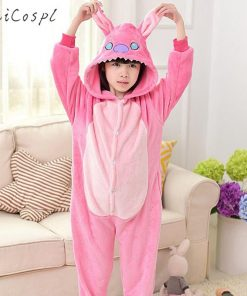 Animals Pajamas Children Onesie Boys Girls Cosplay Costume Party Pink Rabbit Kigurumi Kids Fairy Tale Flannel Warm Sleepwear