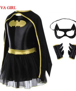 Princess Batgirl Costume Cosplay Batman Girls Clothing Sets Fake Pu Leather Dress Superhero Capes Kids Clothes Set