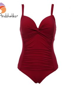 Andzhelika 2018 New Plus Size Swimwear Sexy Bandage Deep Cup Swimwear Full Lining Women One Piece Swimsuit Solid Halt AK18606 1