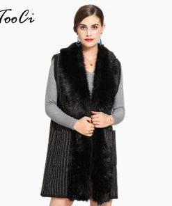 Faux Fur Coat Winter Women 2018 New Fashion Casual Warm Slim Sleeveless Faux Fox Fur Vest Winter Jacket Women Casaco Feminino