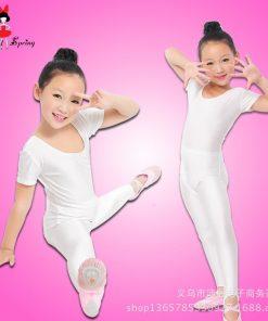 Girls Ballet Bodysuit Children Blue White Dance Leotard Short Sleeved Gymnastics Wear 1