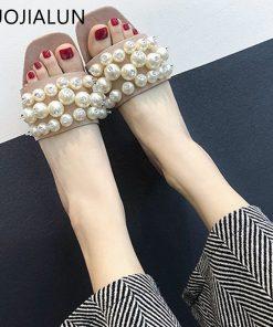 SUOJIALUN Women Slippers Med Heel Slip On Slides Fashion String Bead Open Toe Casual Flat Flip Flops Sandals Shoes  1