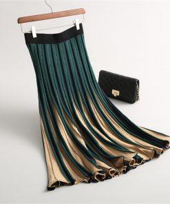 2017 Women Knitted Pleated Skirt Autumn Winter Color Patch High Waist Women Long Skirt Female Warm Ladies Maxi Midi Skirt Saia 1