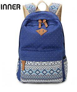 Vintage School Bags for Teenagers Girls Schoolbag Large Capacity Lady Canvas Dot Printing Backpack Rucksack Bagpack BookBag