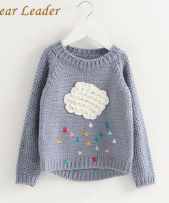 Bear Leader Girls Clothing 2018 Winter Pullover Children Sweaters Cartoon Cloud Long Sleeve Outerwear O-neck Kids Knitwear 3-7Y