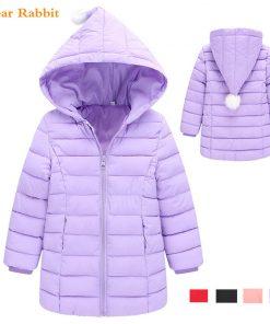 2018 spring New Warm Girls Thin Down Cotton Jackets & Coats Baby Kids autumn winter Down Jacket Children 1-8Y Outwear Clothes