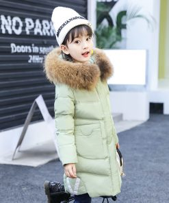 -30 degree Children Russia Winter Jacket For Girls Thick Duck Down Jacket Kids Outerwears Warm Coat parka real fur girl clothes 1