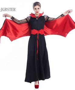 DJGRSTER 2018 New Black Evil Vampire Bat Costume Batman Party Cosplay Devil Batman Carnival Cosplay Black Red Woman Dress 1