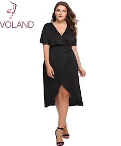 INVOLAND Plus Size Elegant Solid Dress Sexy V-Neck  large Size Short Sleeve Black Asymmetrical Wrap Dress 4XL