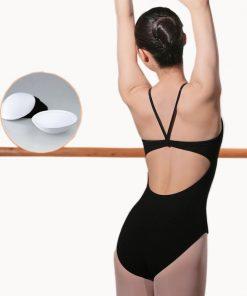 Adult Black Leotard Gymnastics Staps Dance Bodysuit Ballet with Open Back Training Cotton Jumpsuit