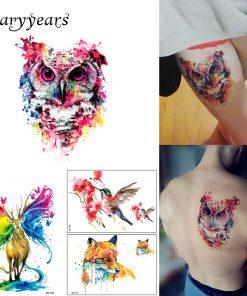 1 Sheet Colorful Drawing Temporary Tattoo Women Men Body Art Catoon Owl Decal Design KM-014 Waterproof Tattoo Sticker Watercolor
