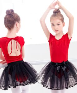 Girls Kids Red Ballet Tutu Dance Dress Cotton Mesh Lace Up Ballet Outfit Lovely Dance Leotards With Skirt