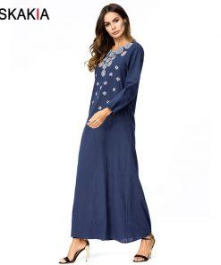 Siskakia solid geometry embroidery Maxi long dress Brief Elegant Urban Casual women dresses Autumn 2018 Slim plus size 3XL 4XL 1