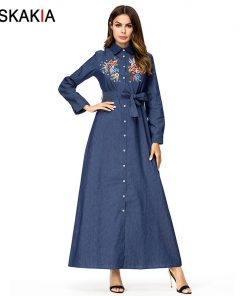 Siskakia Denim long dress maxi Tall women A line swing dress Single-breasted lapel Shirt Dresses Autumn Chic Flower Embroidery