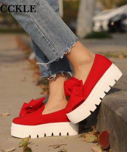MCCKLE Women Creeper Fashion Autumn Bowtie Flat Platform Shoes For Woman Shallow Slip On Ladies Moccasins Flock Female Footwear