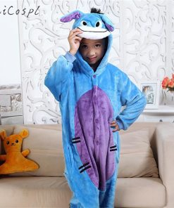 Kids Blue Donkey Pajama Boys Girls Anime Cosplay Costume Kigurumi Disguise Animal Onesie Party Funny Flannel Warm Sleepwear Suit