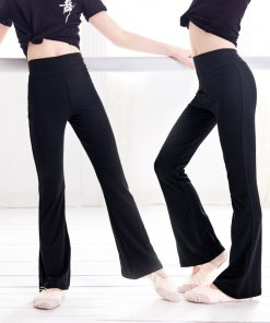 Girls Casual Loose Black Cotton Pants Gymnastics Fitness Ballet Dance Pants Flare Trousers For Children 1