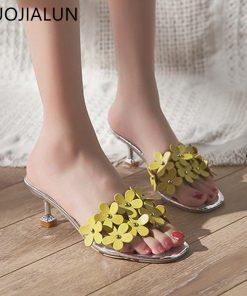 SUOJIALUN 2018 Summer New Women Slippers Sexy Thin Med Heel Ladies Sandals Slides Brand Flower Transparent PVC Slipper Flip Flop