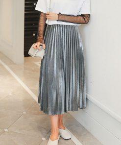 2017 Women Metallic Silver Skirt Elastic Waist Midi Skirt High Waist Metallic Pleated Skirt Party Club Ladies Saia Fenimias