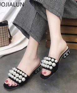 SUOJIALUN Women Slippers Med Heel Slip On Slides Fashion String Bead Open Toe Casual Flat Flip Flops Sandals Shoes