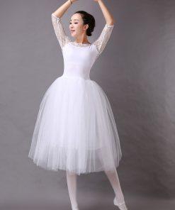 New Ballet Classic Tutu White Ballet Dress Women Lace Sleeve Long Tulle Performance Ballet Skirt Practice 1