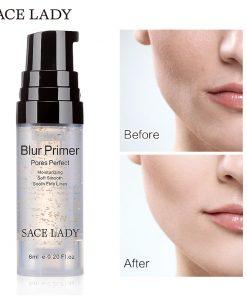 SACE LADY Blur Primer Makeup Base 6ml Face 24k Gold Elixir Oil Control Professional Matte Make Up Pores Brand Foundation Primer